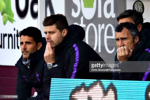 Manager of Tottenham Hotspur Mauricio Pochettino looks on from the dugout during the Premier League match between Burnley FC and Tottenham Hotspur at...
