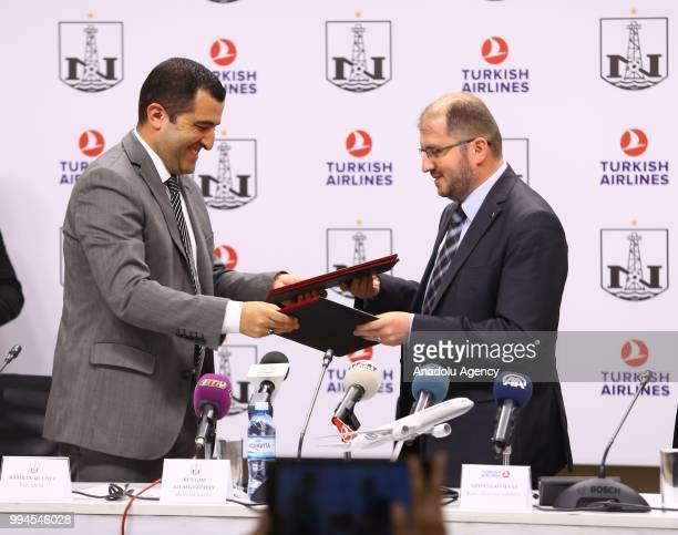 Manager of Turkish Airlines in Baku Seyfullah Ilyas and President of Azerbaijani football club Neftchi Kamran Guliyev attend the signing ceremony of...