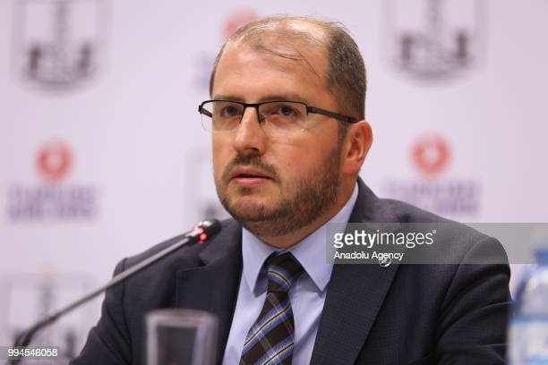 Manager of Turkish Airlines in Baku Seyfullah Ilyas attends the signing ceremony of Brand Cooperation Agreement between Turkish Airlines and Neftchi...