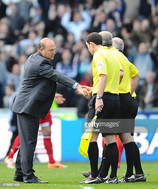 Manager of West Bromwich Albion Pepe Mel shakes referees' hand during the Barclays Premier League match between Swansea City and West Bromwich Albion...