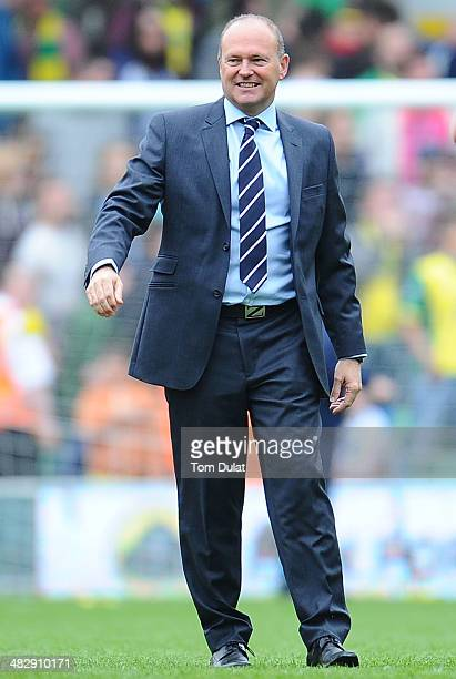 Manager of West Bromwich Albion Pepe Mel smiles after his team's win during the Barclays Premier League match between Norwich City and West Bromwich...