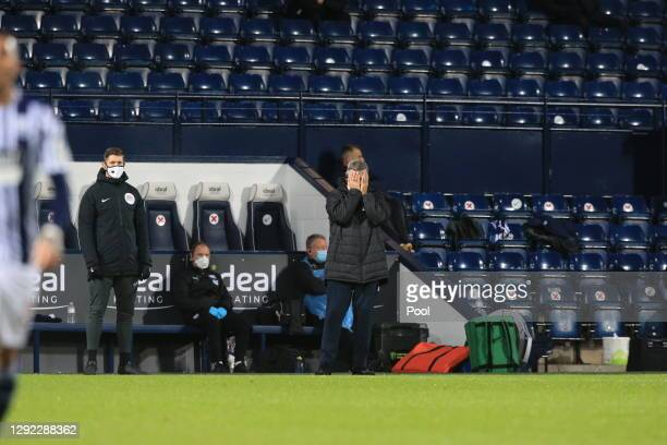 Manager of West Bromwich Albion, Sam Allardyce reacts during the Premier League match between West Bromwich Albion and Aston Villa at The Hawthorns...
