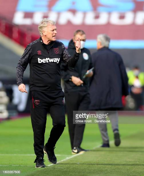Manager of West Ham David Moyes gestures during the Premier League match between West Ham United and Tottenham Hotspur at London Stadium on February...