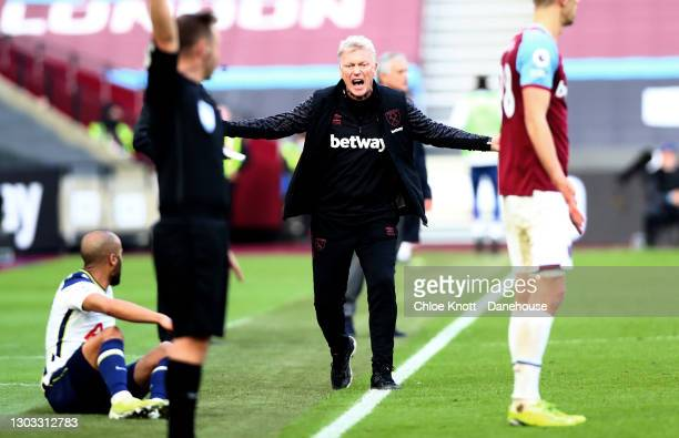 Manager of West Ham David Moyes reacts during the Premier League match between West Ham United and Tottenham Hotspur at London Stadium on February...