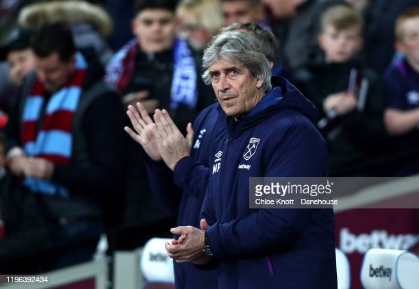 Manager of West Ham Manuel Pellegrini during the Premier League match between West Ham United and Leicester City at London Stadium on December 28...