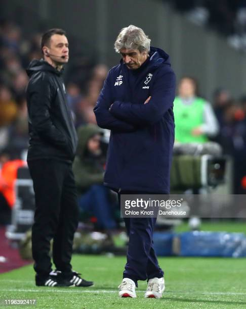 Manager of West Ham Manuel Pellegrini reacts during the Premier League match between West Ham United and Leicester City at London Stadium on December...
