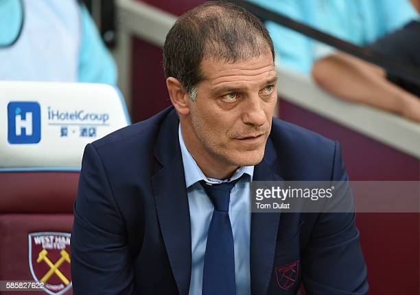 Manager of West Ham United Slaven Bilic looks on during the UEFA Europa League Qualification round match between West Ham United and NK Domzale at...