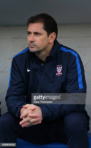 Manager of York City Jackie McNamara during the Sky Bet League Two match between Carlisle United and York City at Brunton Park on January 23 2016 in...