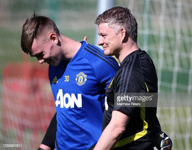 Manager Ole Gunnar Solskjaer and Nathan Bishop of Manchester United in action during a first team training session on February 09 2020 in Malaga Spain