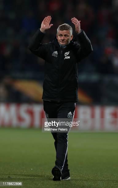 Manager Ole Gunnar Solskjaer of Manchester United applauds the fans after the UEFA Europa League group L match between AZ Alkmaar and Manchester...