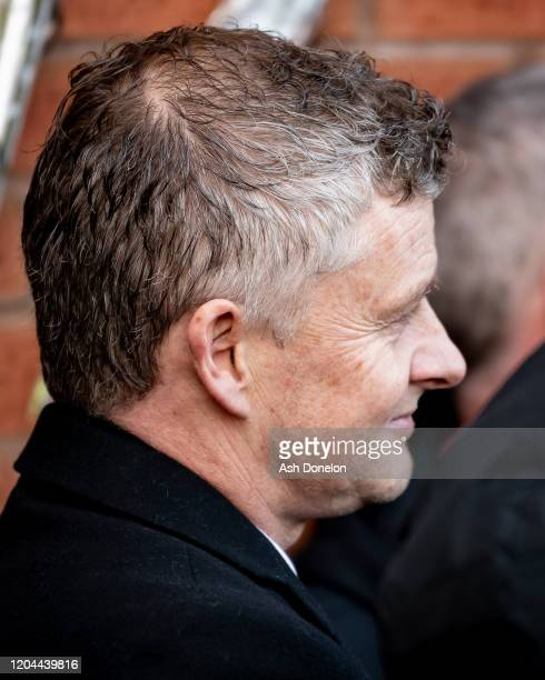 Manager Ole Gunnar Solskjaer of Manchester United attends a ceremony to mark the 62nd anniversary of the Munich Air Disaster at Old Trafford on...