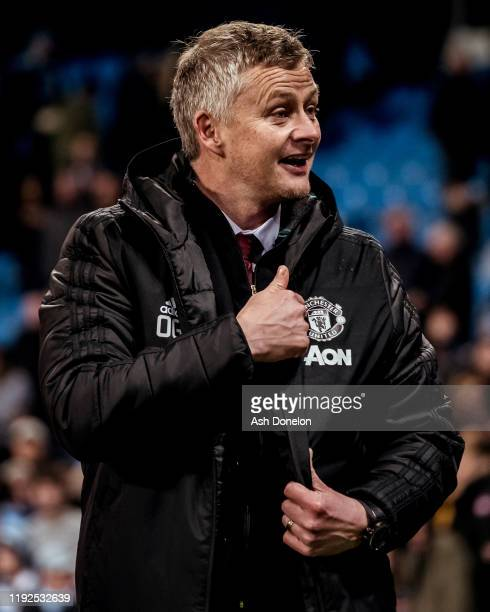 Manager Ole Gunnar Solskjaer of Manchester United celebrates after the Premier League match between Manchester City and Manchester United at Etihad...