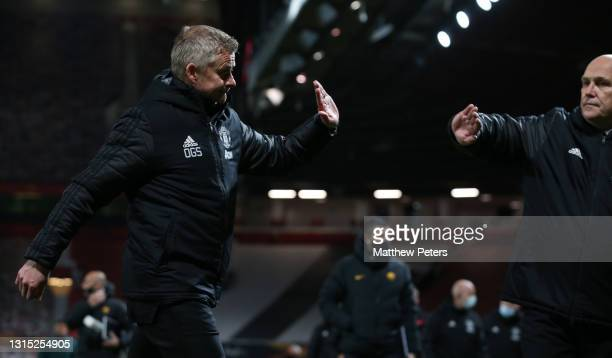 Manager Ole Gunnar Solskjaer of Manchester United celebrates with Assistant manager Mike Phelan after the UEFA Europa League Semi-final First Leg...