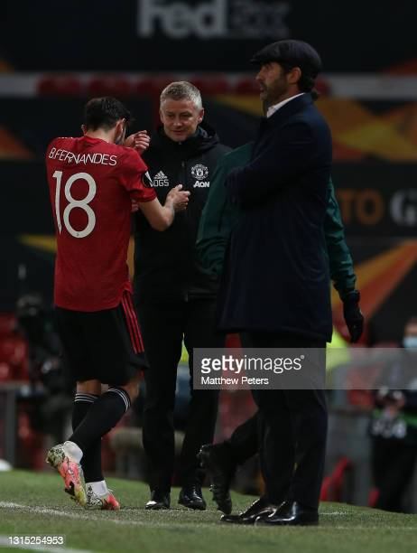 Manager Ole Gunnar Solskjaer of Manchester United celebrates with Bruno Fernandes after the UEFA Europa League Semi-final First Leg match between...