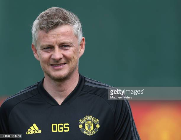 Manager Ole Gunnar Solskjaer of Manchester United in action during a first team training session at Aon Training Complex on July 04, 2019 in...