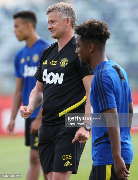 Manager Ole Gunnar Solskjaer of Manchester United in action during a first team training session as part of their pre-season tour of Australia,...