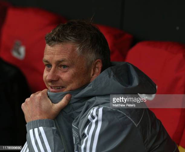 Manager Ole Gunnar Solskjaer of Manchester United in action during a first team training session at AFAS-Stadium on October 02, 2019 in Alkmaar,...
