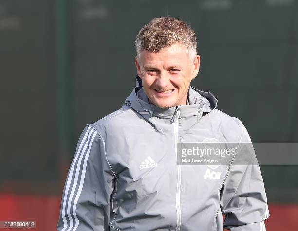 Manager Ole Gunnar Solskjaer of Manchester United in action during a first team training session at Aon Training Complex on October 23 2019 in...