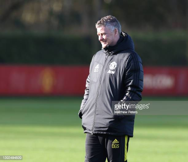 Manager Ole Gunnar Solskjaer of Manchester United in action during a first team training session at Aon Training Complex on January 28 2020 in...