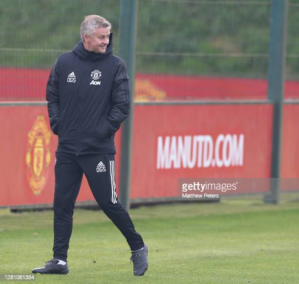 Manager Ole Gunnar Solskjaer of Manchester United in action during a first team training session ahead of the UEFA Champions League Group H stage...