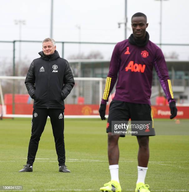 Manager Ole Gunnar Solskjaer of Manchester United in action during a first team training session at Aon Training Complex on March 10, 2021 in...