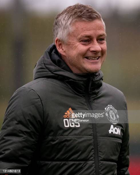 Manager Ole Gunnar Solskjaer of Manchester United in action during a first team training session at Aon Training Complex on April 27, 2021 in...