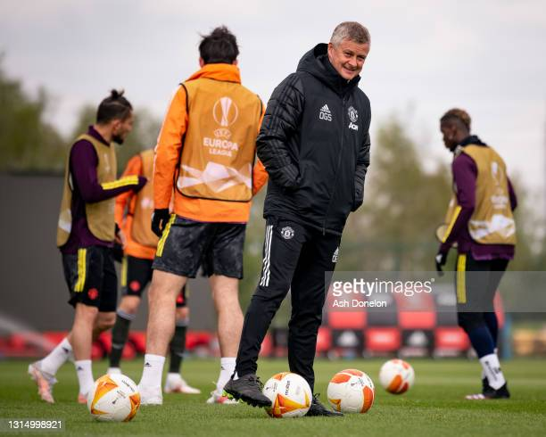 Manager Ole Gunnar Solskjaer of Manchester United in action during a first team training session at Aon Training Complex on April 28, 2021 in...