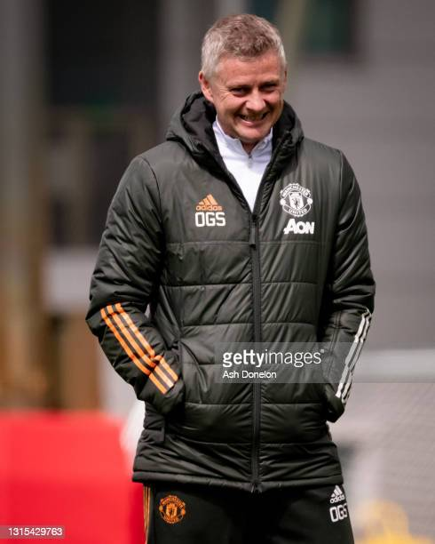 Manager Ole Gunnar Solskjaer of Manchester United in action during a first team training session at Aon Training Complex on April 30, 2021 in...
