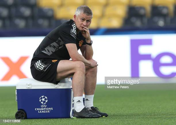 Manager Ole Gunnar Solskjaer of Manchester United in action during a first team training session at Stadion Wankdorf on September 13, 2021 in Bern,...