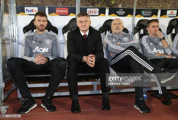 Manager Ole Gunnar Solskjaer of Manchester United sits on the bench ahead of the UEFA Europa League group L match between Partizan and Manchester...