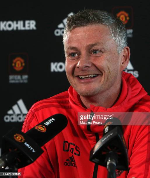 Manager Ole Gunnar Solskjaer of Manchester United speaks during a press conference at Aon Training Complex on April 12, 2019 in Manchester, England.