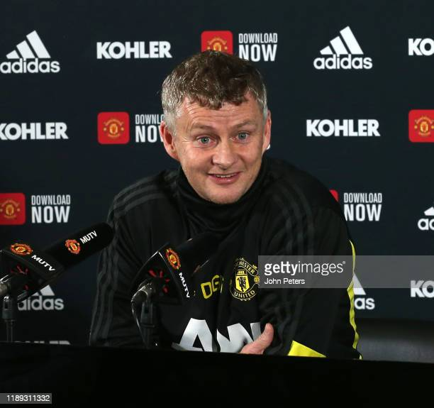 Manager Ole Gunnar Solskjaer of Manchester United speaks during a press conference at Aon Training Complex on November 22, 2019 in Manchester,...