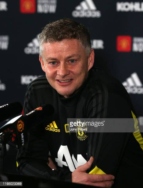Manager Ole Gunnar Solskjaer of Manchester United speaks during a press conference at Aon Training Complex on December 20 2019 in Manchester England