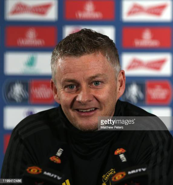 Manager Ole Gunnar Solskjaer of Manchester United speaks during a press conference at Aon Training Complex on January 14, 2020 in Manchester, England.