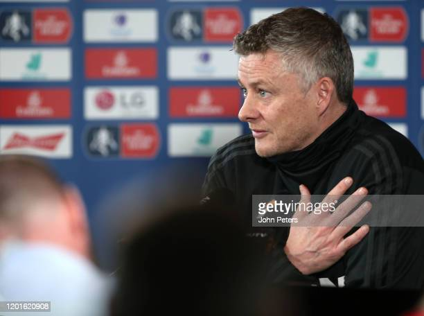 Manager Ole Gunnar Solskjaer of Manchester United speaks during a press conference at Aon Training Complex on January 24, 2020 in Manchester, England.