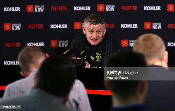 Manager Ole Gunnar Solskjaer of Manchester United speaks during a press conference at Aon Training Complex on January 28, 2020 in Manchester, England.