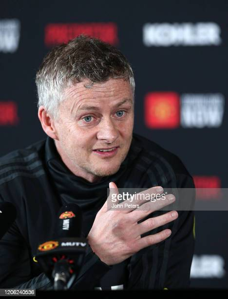 Manager Ole Gunnar Solskjaer of Manchester United speaks during a press conference at Aon Training Complex on February 14, 2020 in Manchester,...