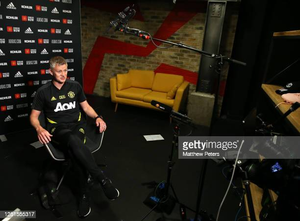 Manager Ole Gunnar Solskjaer of Manchester United speaks during a virtual press conference at Aon Training Complex on June 23, 2020 in Manchester,...
