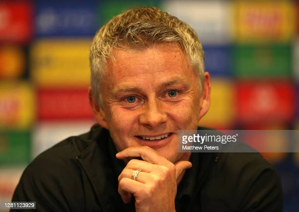 Manager Ole Gunnar Solskjaer of Manchester United speaks during a press conference ahead of their match against Paris St Germain on October 19 2020...