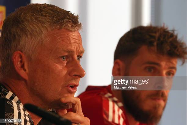 Manager Ole Gunnar Solskjaer of Manchester United speaks during a press conference ahead of a first team training session at Stadion Wankdorf on...