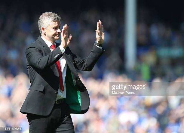 Manager Ole Gunnar Solskjaer of Manchester United walks off after the Premier League match between Everton FC and Manchester United at Goodison Park...