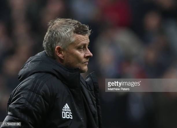 Manager Ole Gunnar Solskjaer of Manchester United walks off after the Premier League match between Newcastle United and Manchester United at St James...