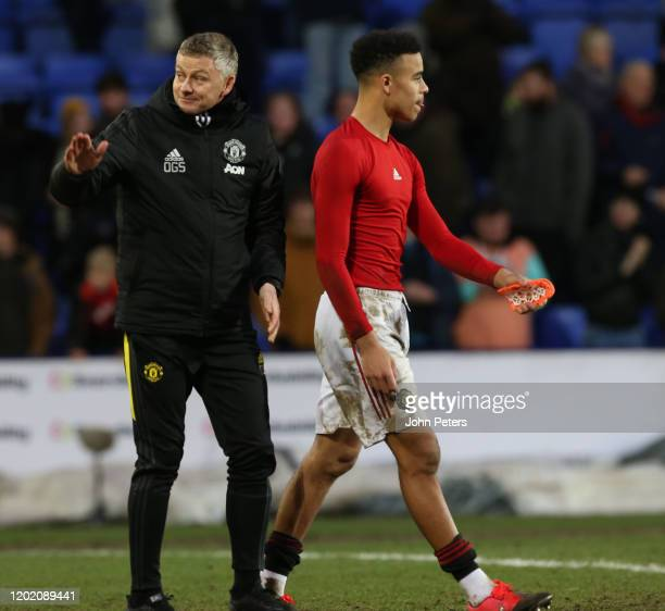 Manager Ole Gunnar Solskjaer of Manchester United walks off after the FA Cup Fourth Round match between Tranmere Rovers and Manchester United at...