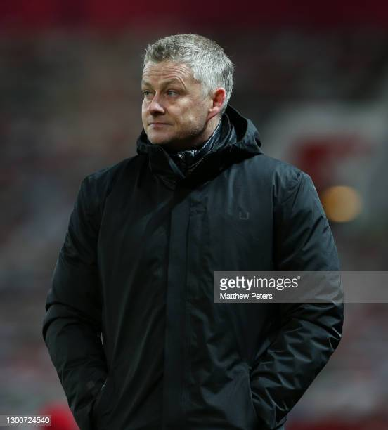 Manager Ole Gunnar Solskjaer of Manchester United walks off after the Premier League match between Manchester United and Everton at Old Trafford on...