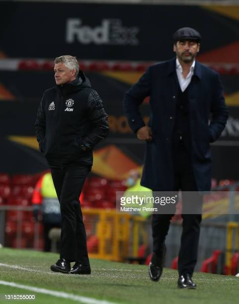 Manager Ole Gunnar Solskjaer of Manchester United walks off after the UEFA Europa League Semi-final First Leg match between Manchester United and AS...