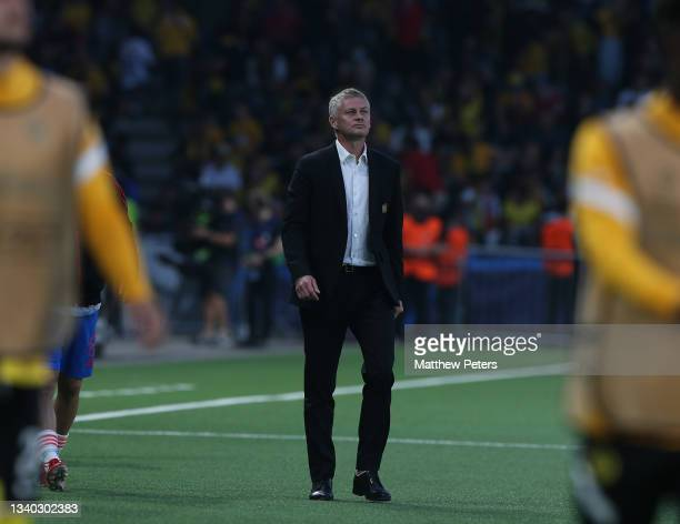 Manager Ole Gunnar Solskjaer of Manchester United walks off at halftime during the UEFA Champions League group F match between BSC Young Boys and...