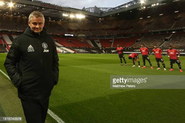 Manager Ole Gunnar Solskjaer of Manchester United walks out ahead of the UEFA Europa League Semi-final First Leg match between Manchester United and...