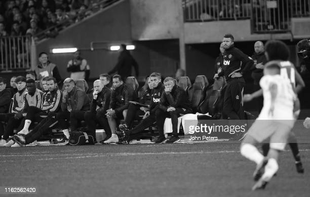 Manager Ole Gunnar Solskjaer of Manchester United watches from the dugout during the preseason friendly match between Manchester United and Leeds...