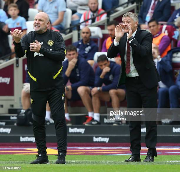 Manager Ole Gunnar Solskjaer of Manchester United watches from the touchline during the Premier League match between West Ham United and Manchester...