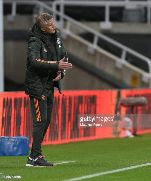 Manager Ole Gunnar Solskjaer of Manchester United watches from the touchline during the Premier League match between Newcastle United and Manchester...